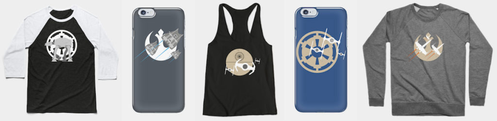 Minimalist Star Wars Apparel and phonecases