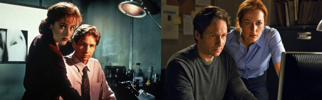 Federal agents Fox Mulder and Dana Scully – then and now