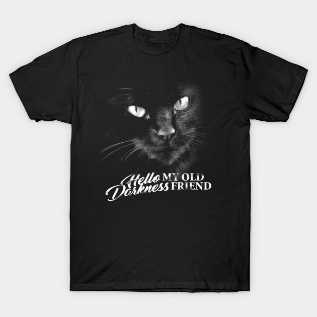 Hello Darkness Cat Tee - Typographic Lyrics Version 1