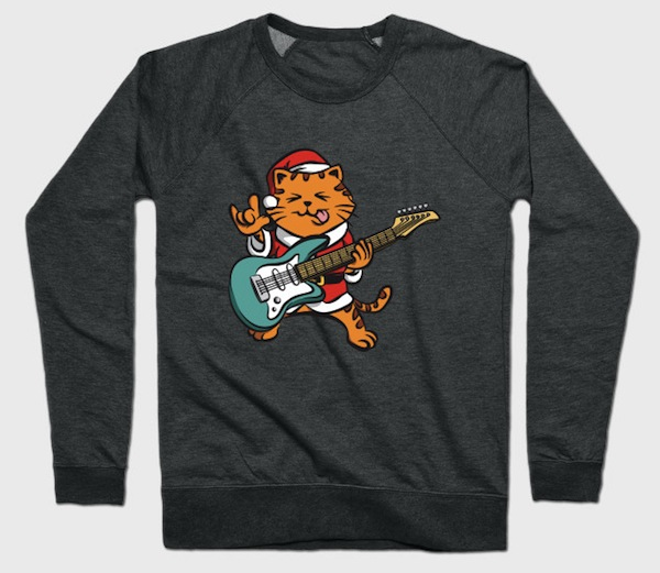 Christmas Cat Plays Guitar Crewneck Sweatshirt