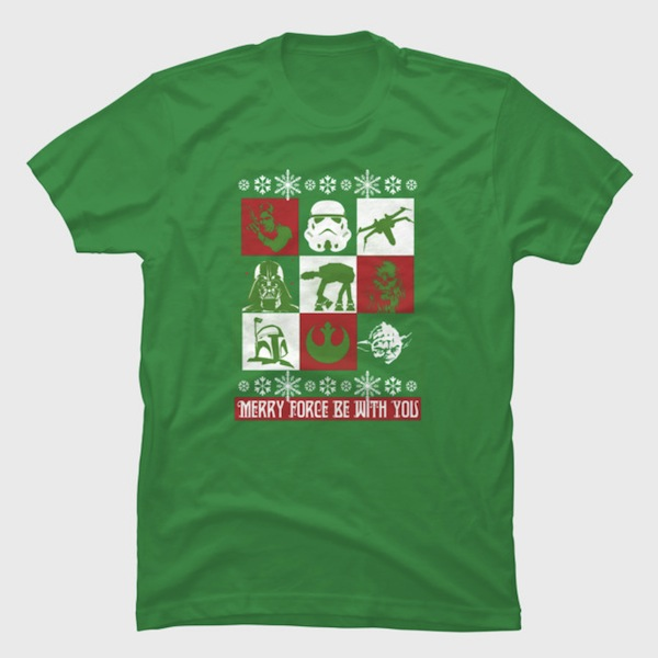 Merry Force Be With You - Star Wars Christmas Tee