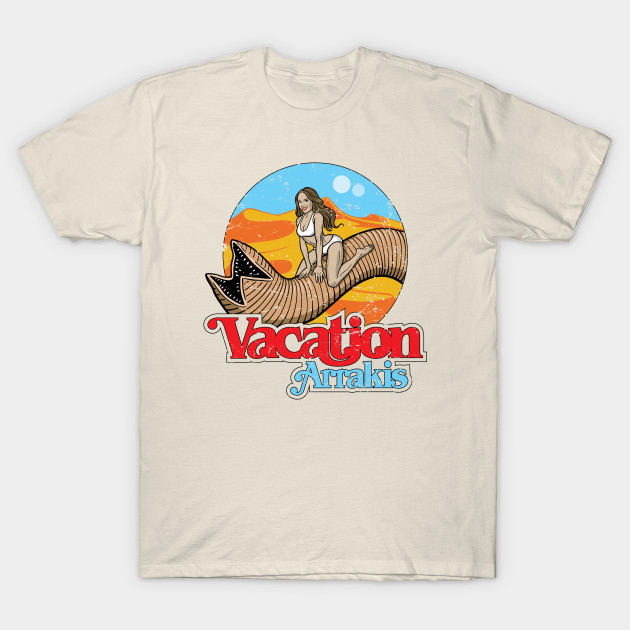 "Funny Dune T-Shirt ""Vacation Arrakis"" Cream Option"