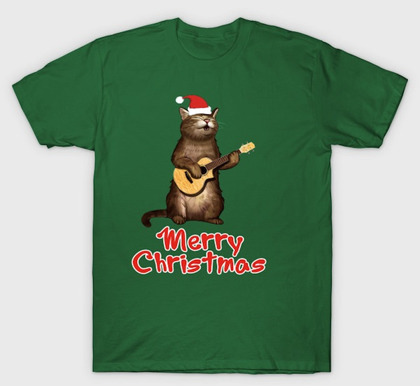 Merry Christmas Cat - playing ukelele – by AwesomePrintableArt
