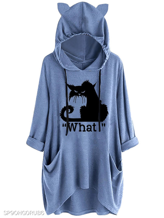 Casual ear hooded cat print Blue