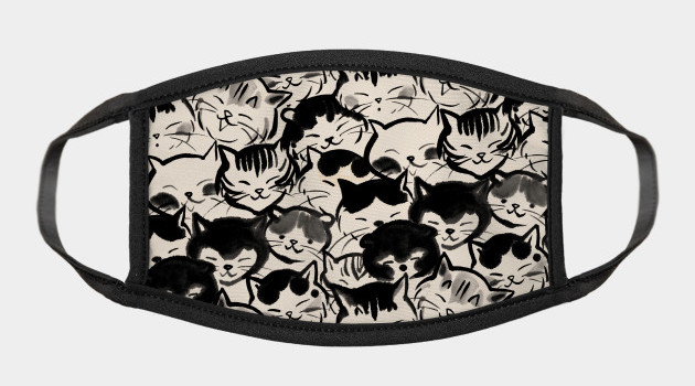 Happy cats faces Face Mask