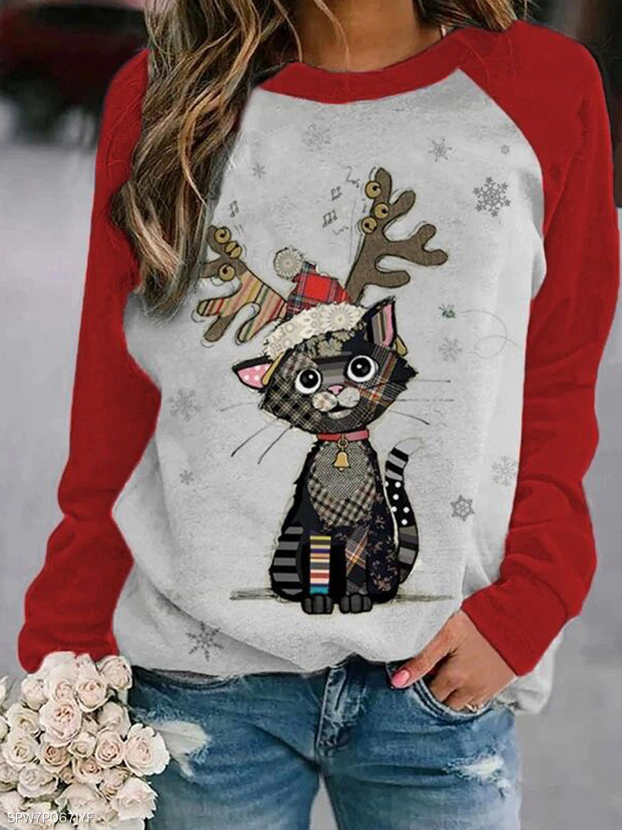 Christmas Cat Raglan by Berrylook