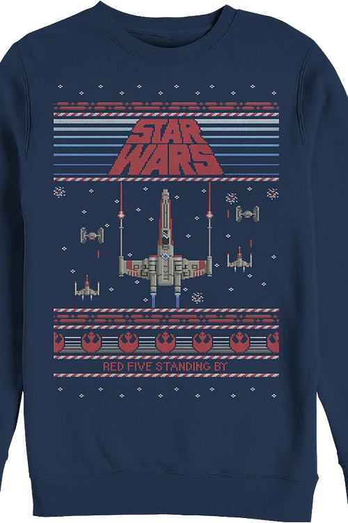Ugly Faux Knit Red Five Star Wars Sweatshirt