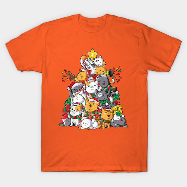 Cute Cat Christmas Tree T-Shirt